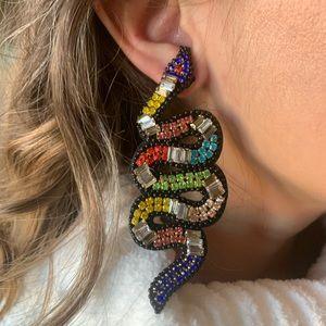 Jewelry - Multicolor Beaded snake earrings